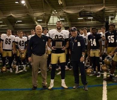 Nic Weishar With Pat Sarb And Brian Kelly Allstate Afca Good Works Team Trophy 10 15 18